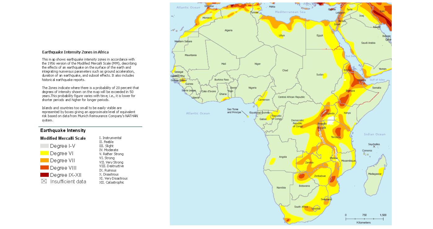 Seismic hazard map of Africa