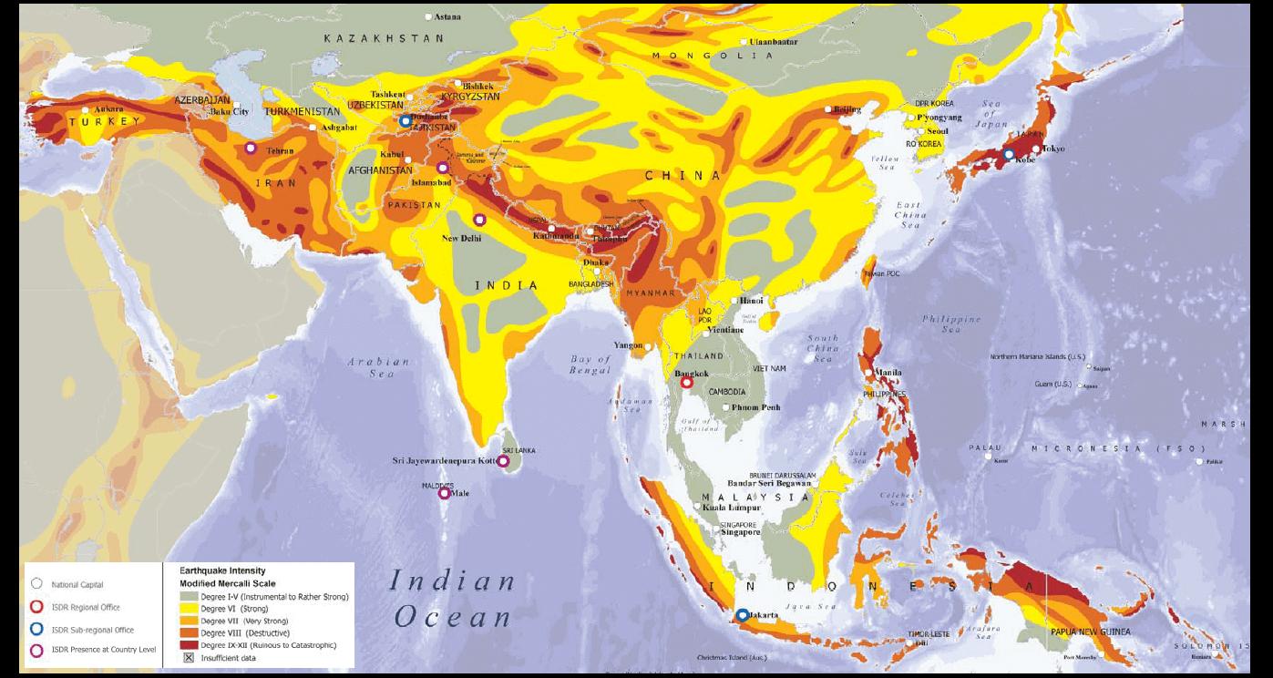 Seismic hazard map of Asia