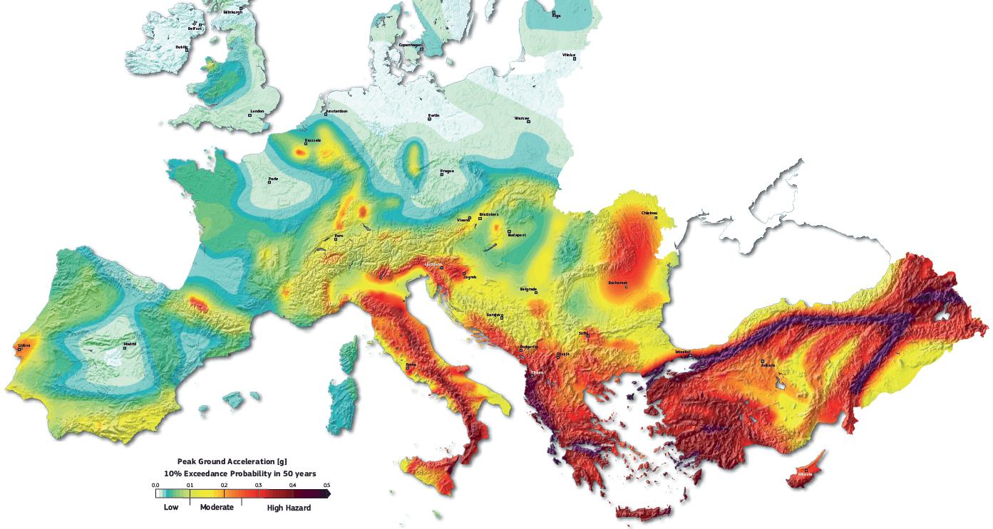 Seismic hazard map of Europe